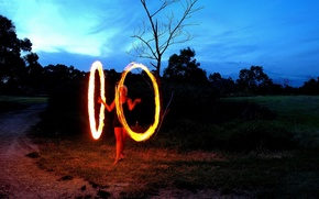 Обои огонь, Девушка, круг