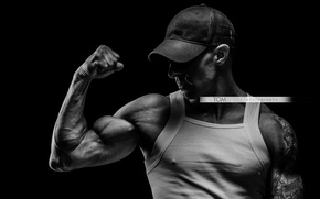 Картинка man, muscles, white and black