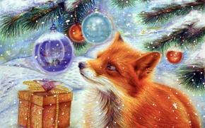 Картинка зима, снег, праздник, подарок, игрушка, елка, новый год, арт, лиса