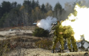 Обои Army, Infantry, Soldiers, back blast, MIssle, Explosion