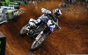 Картинка песок, спорт, трасса, грязь, мотоцикл, Yamaha, ямаха, motocross, james stewart, Джеймс Стюарт