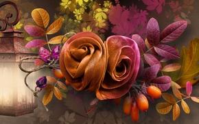 Картинка осень, листья, коллаж, плоды, фонарь, ткань