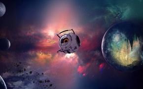 Картинка звезды, робот, Планета, Космос, Вселенная, шатл, туманности