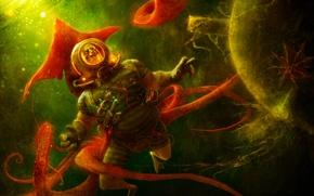 Картинка человек, водолаз, щупальца, шлем, под водой, underwater, diver