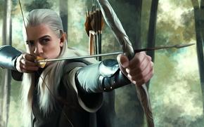Обои Эльф, The Lord of the Rings, Хоббит, Леголас, предводитель эльфов Итилиэна, Принц Лесного королевства