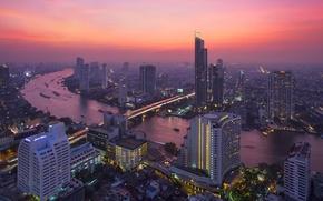 Картинка ночь, мост, город, огни, река, здания, лодки, Таиланд, City, Бангкок, Bangkok