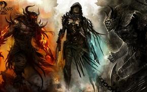 Картинка девушка, демон, воин, Guild Wars 2, убийца, нежить