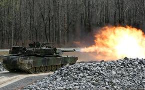 Картинка танк, залп, abrams, m1a3