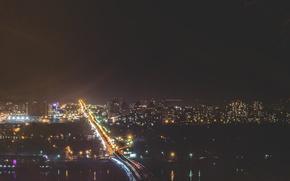 Картинка мост, город, огни, метро, ночной, Украина, Днепр, киев