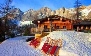 Картинка зима, Альпы, санки, пансион, ramsau, ski resort