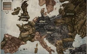 Картинка fantasy, art, Europe, steampunk, map, artwork, fantasy art, miscellanea