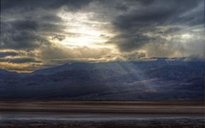 Картинка солнце, облака, горы, sunshine, mountains, clouds
