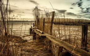 Картинка пейзаж, мост, река, камыш