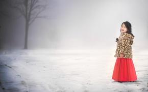 Картинка зима, дорога, девочка