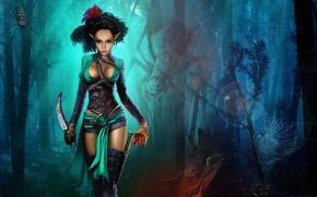 Картинка лес, деревья, ночь, кровь, сердце, рисунок, пауки, паутина, фэнтези, арт, нож, огромные, Nikita Bolyakov, зльфийка