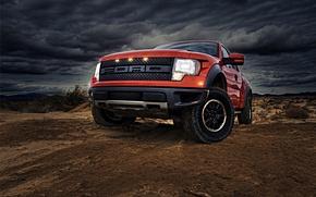 Обои красный, Ford, Photoshop, автомобилей