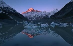 Картинка свет, отражения, горы, озеро, лёд, Новая Зеландия, пики, остров Южный, Южные Альпы, высочайшая точка Новой ...