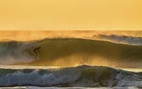 Картинка волны, закат, брызги, океан, спорт, спортсмен, серфинг