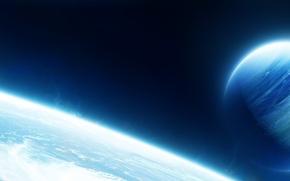 Картинка космос, планета, свечение