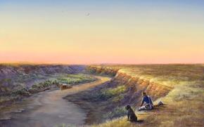 Картинка небо, пейзаж, птицы, река, обрыв, лодка, собака, картина, солдат, Миссури, Larry Janoff, Up The Missouri …
