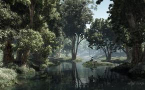 Картинка лес, деревья, озеро, пруд, листва, тишина, остров, тень, мальчик, книга, солнечно, островок