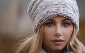 Картинка девушка, лицо, милая, шапка, блондинка, прелесть, young, голубоглазая, pretty, beauty, боке, russian, Elya, Ilya Varivchenko, …