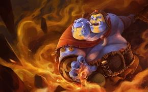 Картинка огонь, магия, арт, Dota 2, Ogre Magi, linxz2010