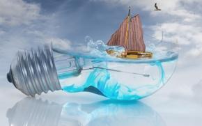 Обои небо, вода, волны, чайка, отражение, лампочка, лодка, креатив