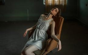Картинка девушка, кресло, Георгий Чернядьев, Ola Pushkina, The strange Olya