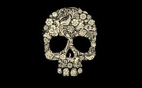 Картинка цветы, узоры, череп, голова, скелет, skull, черный фон