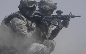 Картинка пыль, солдаты, soldiers, вооружение, морпехи