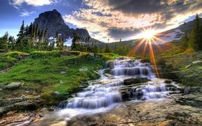Обои Закат, Гора, Река, Монтана