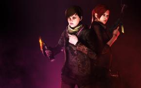 Картинка red, girl, gun, pistol, game, red hair, weapon, woman, Resident Evil, pretty, survivor, redhead, brunette, ...
