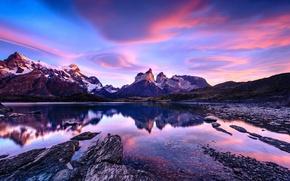 Картинка небо, облака, горы, Чили, Патагония