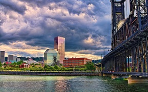 Картинка мост, город, здания, многоэтажки