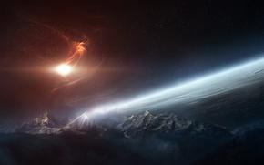 Картинка поверхность, свет, горы, планета, атмосфера, nebula, звезды, облака