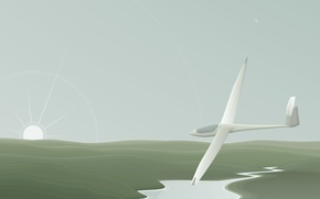 Картинка минимализм, вектор, аэроплан