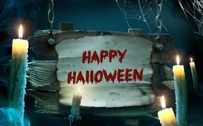 Картинка Halloween, Хэллоуин, night, holiday, candles, Happy
