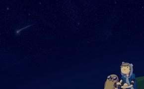 Обои Adventure Time, Небо, Звезды, Space, Джейк, Finn, Jake, Время Приключений, Sky, Cartoon, Мультфильм, Фин