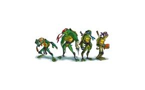 Картинка минимализм, Leonardo, Donatello, Черепашки-ниндзя, Raphael, Teenage Mutant Ninja Turtles, Michelangelo, мутанты ниндзя черепашки