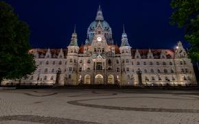 Картинка ночь, Германия, площадь, дворец, ратуша, Hannover, Neues Rathaus