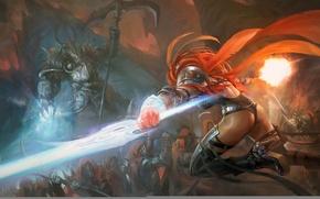 Картинка попа, девушка, пистолет, тьма, магия, меч, армия, арт, битва