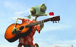 Картинка Johnny Depp, Flower, Rose, 2011, with, Guitar, Wallpaper, Series, Family, Musician, Year, Animation, Movie, Paramount …