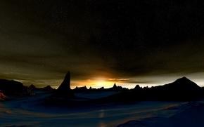 Картинка солнце, звезды, shifted reality, поверхность планеты, Sunrise On Etarelith