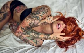 Обои girl, татуировка, девушка, рыжая, tattoo, Redhead