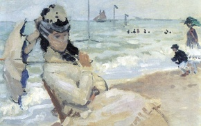 Картинка девушка, лодка, картина, зонт, парус, вуаль, морской пейзаж, Клод Моне, жанровая, Камилла на Пляже в …