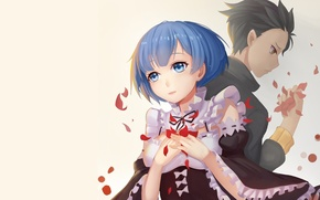 Картинка фон, аниме, лепестки, арт, двое, Субару, Re: Zero kara Hajimeru Isekai Seikatsu, рем