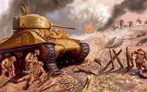 Картинка война, рисунок, арт, солдаты, танк, Шерман, Sherman, американский средний танк