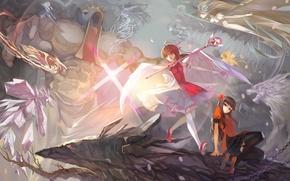 Картинка девушки, магия, аниме, арт, битва, сражение, kinomoto sakura, card captor sakura, paku, daidouji tomoyo, kerberos