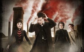 Картинка взгляд, девушка, трубы, дым, бабушка, шляпа, платье, актриса, костюм, актер, мужчина, Doctor Who, старуха, Доктор …